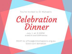 5:30pm Congregation Celebration Dinner
